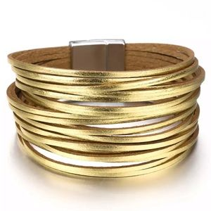 Gold Leather Strappy Wrap Cuff Western Bracelet
